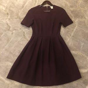 H&M Crew Neck Knee Length Burgundy Dress